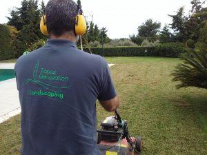 Συντήρηση κήπων-Εξαραίωση χλοοτάπητα-Turf verticutting-Topos Renovation2